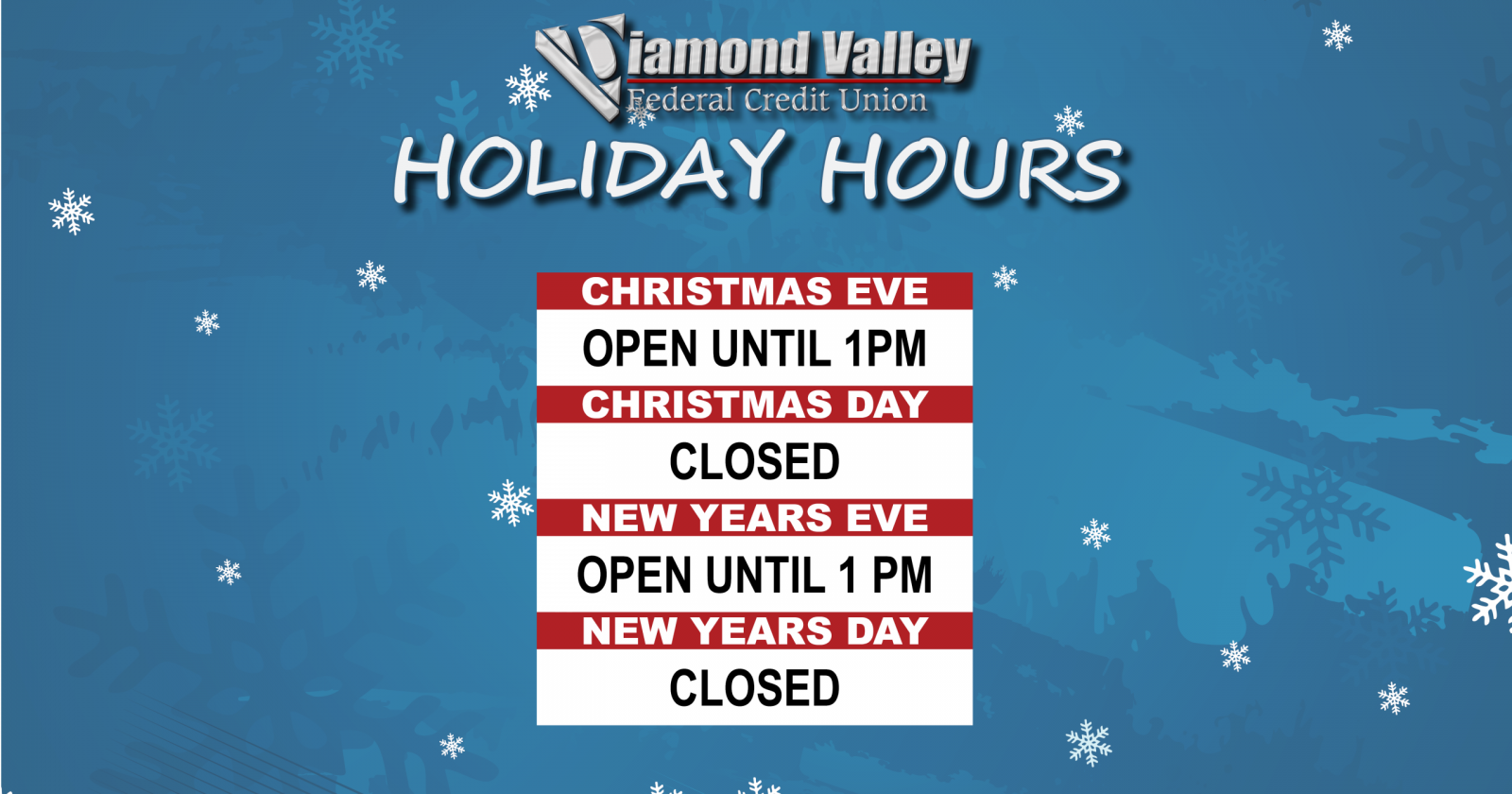 DVFCU Holiday Hours - Christmas & New Years