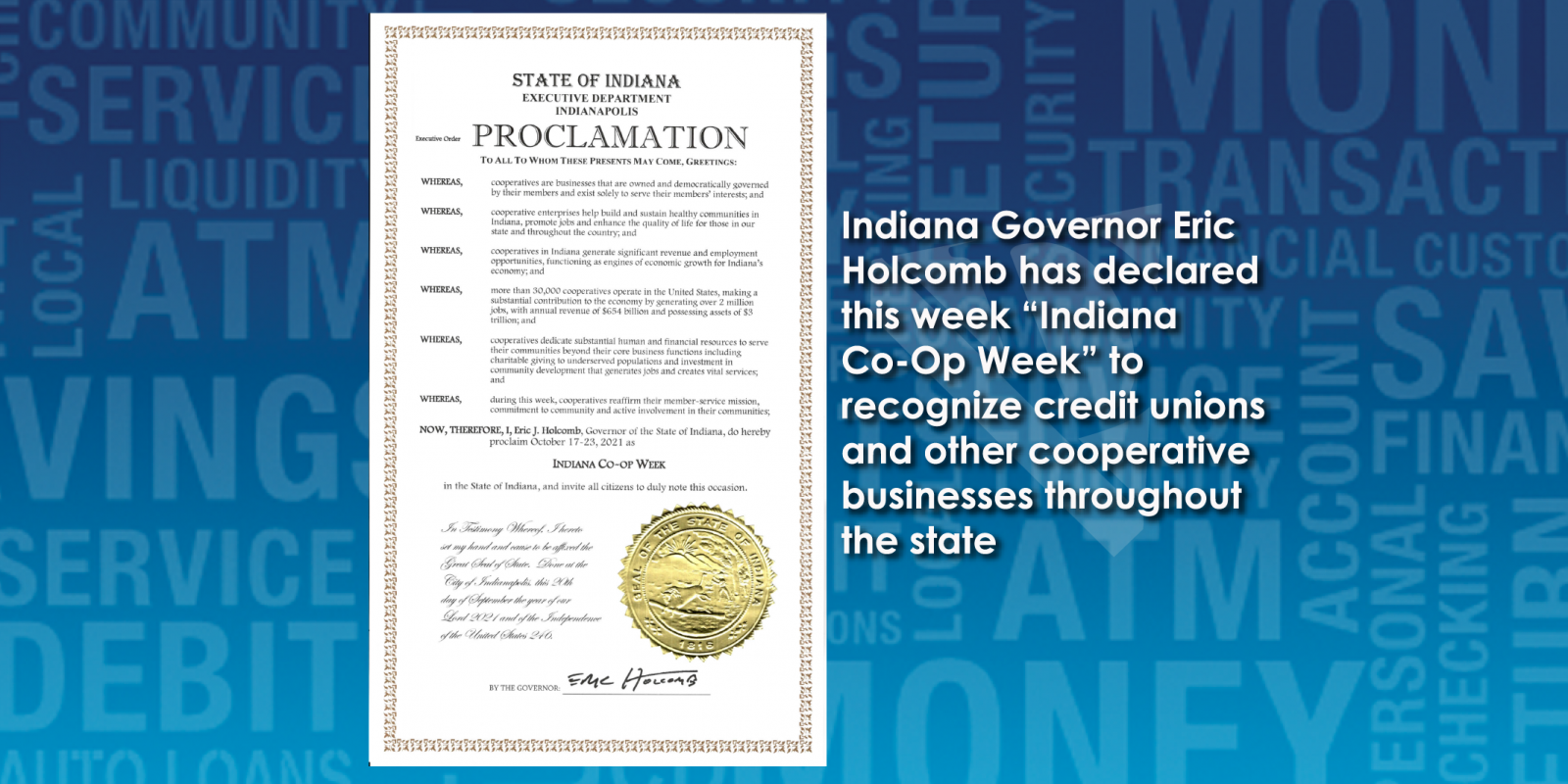 International Credit Union Day and Indiana Co-Op Week