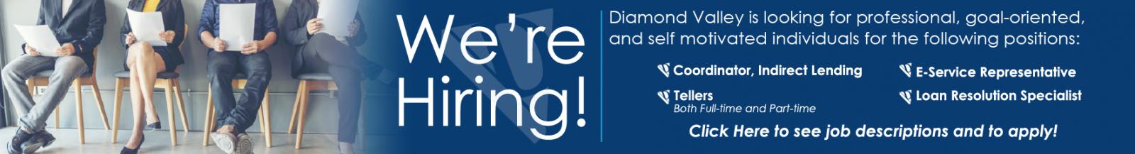 Diamond Valley is hiring!