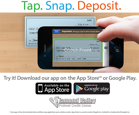 Deposit Checks using the DVFCU Mobile App!