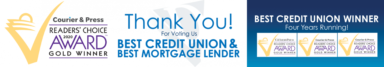 Thank You Voting Us Best Credit Union for the fourth year in a row and Best Mortgage Lender!