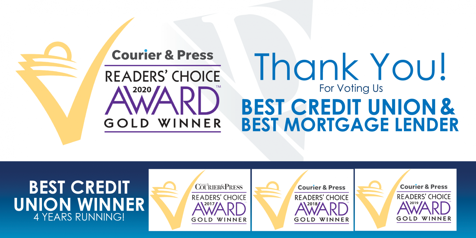 Diamond Valley Voted Best Credit Union and Best Mortgage Lender in the Courier and Press 2020 Reader's Choice Awards.